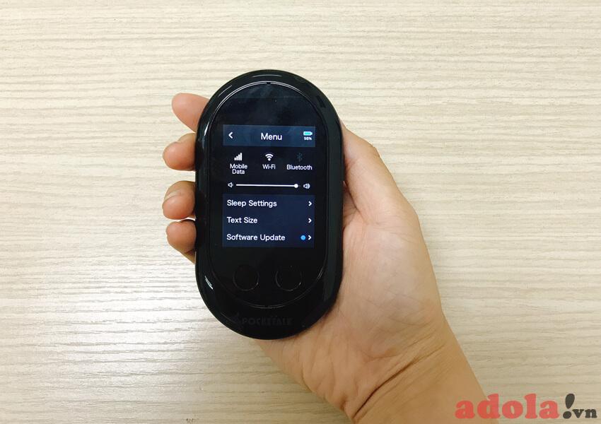 Giao diện menu trên màn hình máy Pocketalk